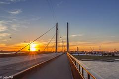 Duesseldorf - Rheinknie-Bridge at sunset (patuffel) Tags: sunset duesseldorf dü düsseldorf bridge rheinknie rheinkniebrücke kirmes rheinkrimes rhein rhine river dusseldorf explore