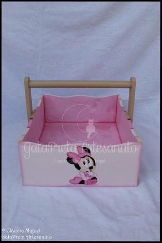 Cesta, caixa rec. bebé, moldura e nome Shy Minnie2