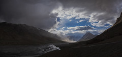 Spiti River (Ravikanth K) Tags: 500px panorama spiti valley river evening dust himachal pradesh india landscape outdoor nature cloudy road highaltitude ki key village ultrawide dusk sunset mountains hills nopeople