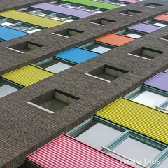 Architectuur-1 (niekeblos) Tags: netherlands building windows colours colour yellow brown blue orange green lines amsterdam