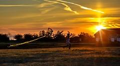 Girl and butterfly - flight & light (Christie : Colour & Light Collection) Tags: sunset light kite girl running evening goldenhour steveston bc canada garrypointpark sundown flight transparent glow outside brilliance bright
