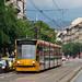 Siemens Combino type tram on Route 6 on Budapest's main boulevard