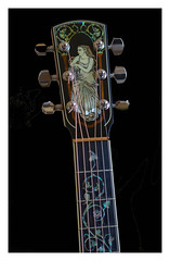 "Flickr Friday-""Made no More"" (Karon Elliott Edleson) Tags: guitarlove flickrfriday madenomore vintage old guitar instrument blackbackground sound larrivee music strings"