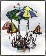 Automated dream catcher (and bubble blower!) (Andy J Newman) Tags: color om omd umbrella art artisitc bike bristol bubble catch chain colour dock dream dreamcatcher gadget gizmo harbourfestival installation olympus spoke wheel
