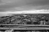 Milwaukee (Beau Finley) Tags: beaufinley wisconsin cityscape city landscape monochrome blackandwhite bw buildings skyline sky lakemichigan lae bleak dreary cloudy factory smokestack highway road mke downtown