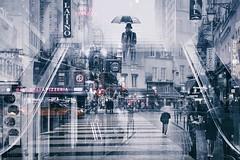 MULTI EXPOSURE PARIS NYC street photography (Carlos Pinho Photography) Tags: paris nyc doubleexposure street streetphotography urban silhouette umbrella rain rainyday