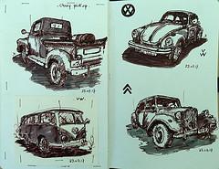 Les anciennes. (Jean-Paul Rivière) Tags: fountainpen ink sketch car croquis