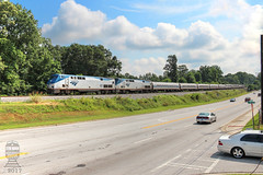 Amtrak #19 (Steve Hardin) Tags: austell georgia norfolksouthern amtrak railroad railway railfan train passengercoach diningcar baggagecar southerncrescent p42dc