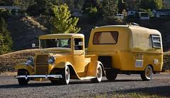 1933 Ford pickup truck (Custom_Cab) Tags: 1933 ford pickup truck yellow street hot rod custom boler travel trailer camper htt