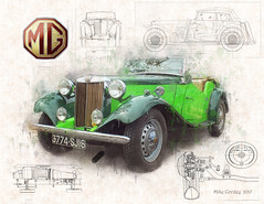 Vintage Car -  MGTD (Mike Cordey) Tags: adcroftboy detaildrawing photopainting vintage charente aigre mg mgtd roadster blueprints