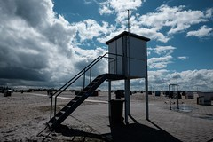 No lifeguards today (gambajo) Tags: lifeguard tower beach coast sea sky skyporn clouds stairs ostfriesland landscape lonely abandoned chrome