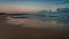 A Hint of Pink DSC_7098 (BlueberryAsh) Tags: capewoolamai sunsetbeach seascape sunset sand water ocean phillipisland beach clouds cloudsstormssunsetssunrises reflection outdoor coast australianbeach nikon24120