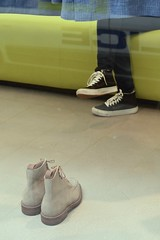 Savile Row 13jul17 (richardbw9) Tags: london uk england city street urban streetphotography streetshot streetphoto feet shoes cons converse allstars sneakers jeans desertboots suede shopwindow police reflection mayfair westminster