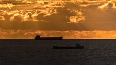 Ships that pass in the night (Julian Chilvers) Tags: norway haugesund sunset sea ship cloud sky