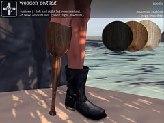 [ht+] wooden peg leg (Corvus Szpiegel) Tags: hate this ht wooden wood peg leg false pirate prosthesis prosthetic limb genre sea faring july 2017 original mesh texture textures rustic simple primitive medicine medical amputation amputee below knee bka left right