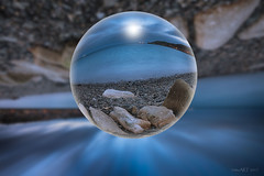 Newly-Winter-Evening-Edit (Lowplainstu) Tags: crystal ball south reflections sea beach blue long exposure lee filter big stopper nature sky water stones pebble sphere