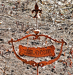Welcome (Eyellgeteven) Tags: welcome sign castiron rusty rusted rust patina oxidized oxidation rustyandcrusty decoration decorated yardart artwork art antique old used rural lettering letters ornate eyellgeteven metalsign blurry plaque