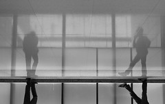 """""""two men two worlds"""" (hugo poon - one day in my life) Tags: xt2 23mmf2 hongkong queensway admiralty admiraltycentre lunch break two solitude alone phone reflections everyday office"""