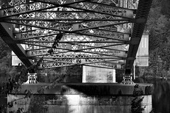Under the Bridge of the Gods (Black & White) (thor_mark ) Tags: blackwhite nikond800e day8 capturenx2edited colorefexpro triptomountrainierandcolumbiarivergorge columbiarivergorge columbiarivergorgenationalscenicarea bridge bridgecrossing bridgecolumns bridgeofthegods columbiariverhwy usroute30 historiccolumbiariverhighway historiccolumbiariverhighwayscenicbyway project365 nature columbiariver river steeltrusscantileverbridge bridgestructure trusses beams girders trees lookingwest or unitedstates