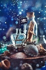 Bottle with a message, seashells and pirate flag (Dina Belenko) Tags: pirate background marine sea nautical travel adventure objects discovery navigation art concept journey voyage piracy bottle navigate abstract design geography ocean stilllife dark water jollyroger stone shell collection copyspace splash bokeh message paper glass sand communication letter cork help note ancient mail lost shore scroll secret conceptual flag drop