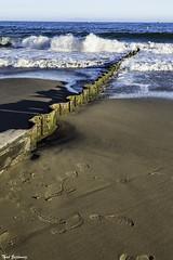 Sand fence (Thad Zajdowicz) Tags: zajdowicz santabarbara california availablelight canon eos 5dmarkiii 5d3 dslr digital lightroom ef24105mmf4lisusm travel beach ocean pacificocean water surf breaker sand sky fence footprints color colour sea seascape shore coast seaside