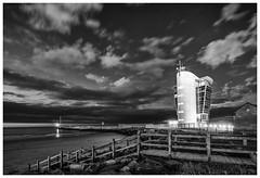 Star Command (ianrwmccracken) Tags: night building aberdeen star shore beach scotland monochrome tower cloud wideangle sky control bw coast harbour concrete