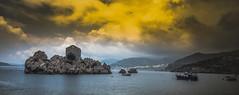 ... (sNEzaNASNEzaNA) Tags: sunset sea ocean water light yellow landscape panorama montenegro island boat sky clouds summer