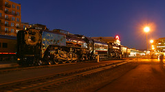 UP 844 and 3985 at Denver Union Station (Christopher J May) Tags: steam locomotive train railroad unionpacific denver colorado co denverunionstation cheyennefrontierdaystrain night evening bluehour city