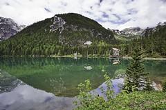 Green day (++sepp++) Tags: pragserwildsee landschaft landscape italien italy italia südtirol see lake spiegelung reflection mirroring bewölkt cloudy wolkig wolken wald forest wasser water grün green altoadige southtyrol