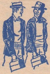 Lunchpail Pals (TedParsnips) Tags: lineart spotillustration magazine newsprint workmen lunchpail bluecollar men guys friends lunch hat 1950s 1960s fifties 50s sixties 60s