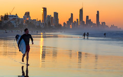 Gold Coast Golden Hour (stevepaustin) Tags: miami queensland australia au sunset goldenhour cityscape surf surfer reflections beach ocean sea