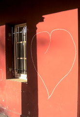 (C-47) Tags: red urban architecture composition rouge window colors art artistic artistique architectural amateur zen shadows shapes ombres wall streetart minimalism colorful light love heart