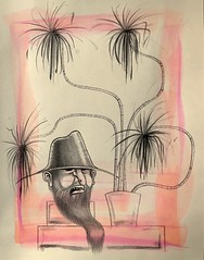 Still Life with House Plant and Bust of Man (2 of 2) (keeper_of_the_castle) Tags: magenta orange workonpaper beard hillbilly houseplants naturemorte stilllife art inkdrawing