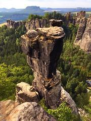 Wehlnadel (echumachenco) Tags: iphone deutschland germany saxony sachsen outdoor sächsischeschweiz rathen rock pillar sandstone elbe elbsandsteingebirge bastei wehlnadel