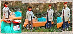 OPEN ROAD (ModBarbieLover) Tags: barbie 1961 1962 doll vintage ken openroad travel sports car fashion beige khaki casual rallyday cap red