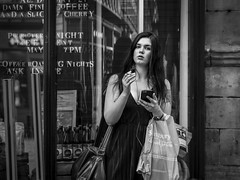 Guilty Pleasures (Leanne Boulton) Tags: urban street candid portrait portraiture streetphotography candidstreetphotography candidportrait streetportrait eyecontact candideyecontact streetlife woman female girl face facial expression look emotion feeling eyes mood smoke smoker smoking cigarette mobile phone guilty pleasure tone texture detail depthoffield naturallight outdoor light shade shadow city scene human life living humanity society culture people canon canon5d 5dmarkiii 70mm character ef2470mmf28liiusm black white blackwhite bw mono blackandwhite monochrome glasgow scotland uk