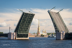 Opening of Bridge (VladimirTro) Tags: россия санктпетербург russia russian river outdoor europe embankment building bridge sky city canon cityscape cloud water waterscape neva peterandpaulfortress colour eos dslr photo photography 24mm
