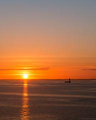 DAY 1: The Sunset // Kiel - Gothenburg // GER - SWE (Jannik K) Tags: ocean sea sunset orange water beach light lights lichter licht samsung nx1 art composition colors colours farben sweden germany deutschland schweden kiel göteborg gothenburg denmark dänemark ship journey roadtrip