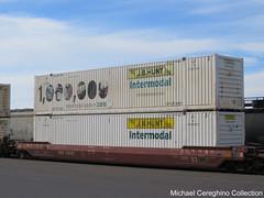 """J.B. Hunt """"1,000,000 Intermodal Loads in 2010"""" Commemorative container,  JBHU257992 (Michael Cereghino (Avsfan118)) Tags: jb hunt jbi intermodal j b 1 million loads 2010 container double stack jbhu 257992 jbhu257992 smw wellcar"""