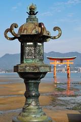 Itsukushima XXVIII (Douguerreotype) Tags: japan hiroshima buddhist temple shrine water red vermilion torii gate lantern metal miyajima