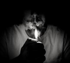 (JacquieD.) Tags: smoke blunt lighter puffpuffpass puff inhale exhale cannabis weed marijuana blackandwhite colorado zigzag mustache