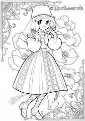 Colouring-Page82 (Khateerah) Tags: shoujo coloring page nurie retro showa lineart manga anime