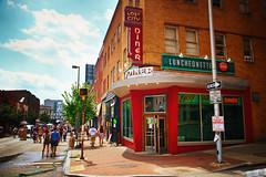Artscape in Baltimore (` Toshio ') Tags: toshio artscape baltimore art maryland diner people city america usa fujixt2 xt2 corner luncheonette restaurant oneway lostcity