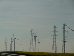 Pylons and eoliennes (Andrea Kirkby) Tags: wind energy renewable turbine