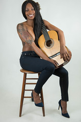 www.Provocatik.com (6.5 Million Views www.Provocatik.com) Tags: topless implied guitar girl black beautiful model singer actress long legs portrait provocatik smile