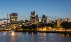 City Lights (hazelhouliston) Tags: london blue bluehour landscape skyline city dusk thames waterfront architecture buildings night canon 5d