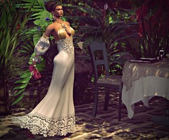 Special Dinner (kare Karas) Tags: woman lady femme girl elegant diva dinner night special cute beauty pretty gown hair sandals clutch lips events summer virtual secondlife avatar sensual seductive jumo yinyangevent ebento