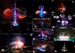 La Tour Eiffel en fait voir de toutes les couleurs....... (brigeham34) Tags: télévision 14juillet feudartifice toureiffel montage10photos