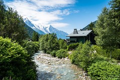 Cabin in the foothills of Mont Blanc (robstubbings) Tags: cabin clouds france grandsmontets montblanc river snow trees chamonixmontblanc auvergnerhônealpes fr