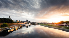 Going down. (Philipp Götze) Tags: dresden river sunset architecture cityscape germany saxony travel tourism panoramic